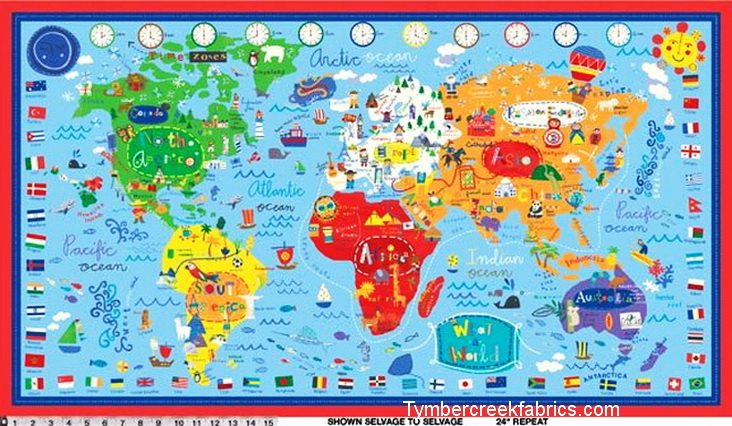 What A World Map Fabric Panel