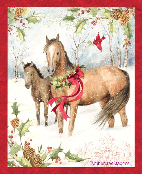 Christmas Horses Fabric Wall Panel