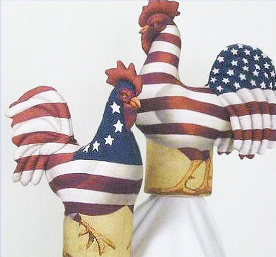 Yankee Doodle Rooster Craft Doll Fabric Panel