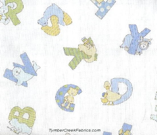 Zoophabet Animals Tossed Fabric White